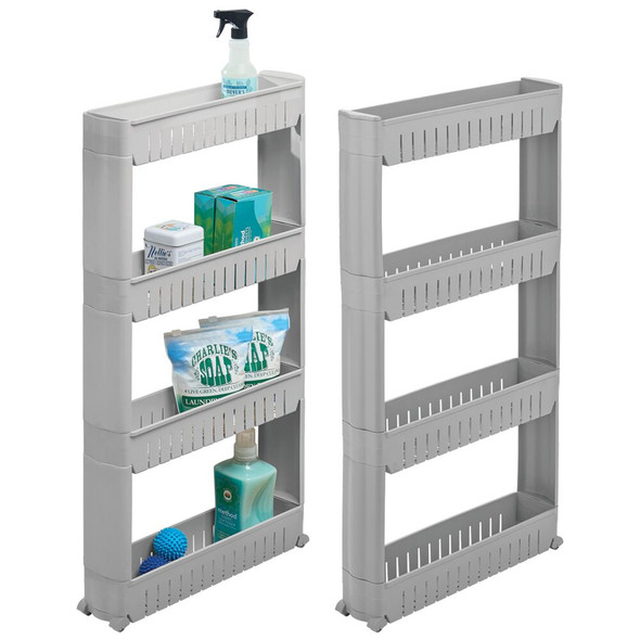 4 Tier Narrow Rolling Cart in Gray - Pack of 2