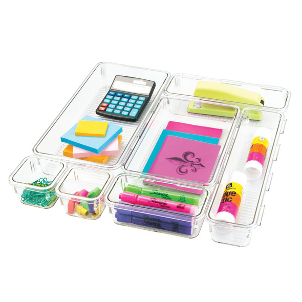 Plastic Home Office Drawer Organizers - Set of 7