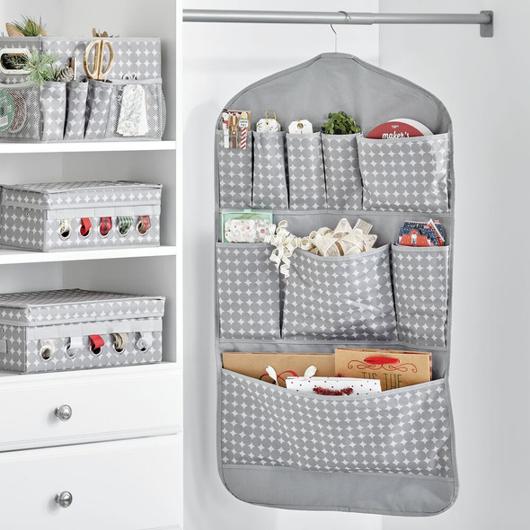 Fabric Hanging Gift Storage Organizer - Grey Print