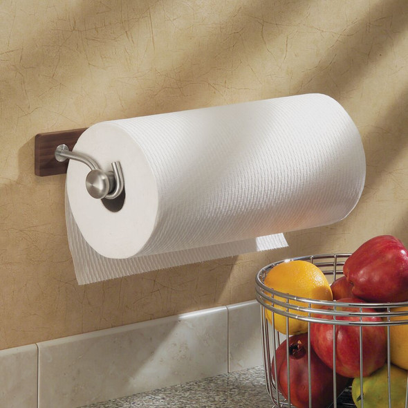 Bamboo Wall Mount/Under Cabinet Paper Towel Holder with Metal Accents - Espresso
