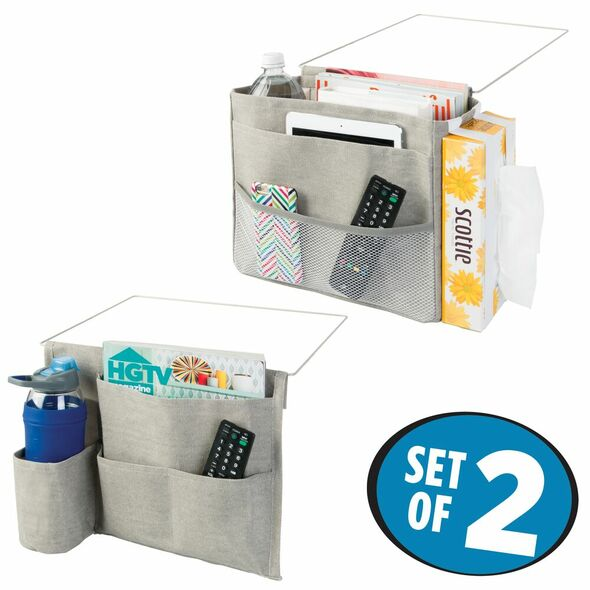 Fabric Bedside Caddy Storage Organizer Combo in Light Gray - Set of 2