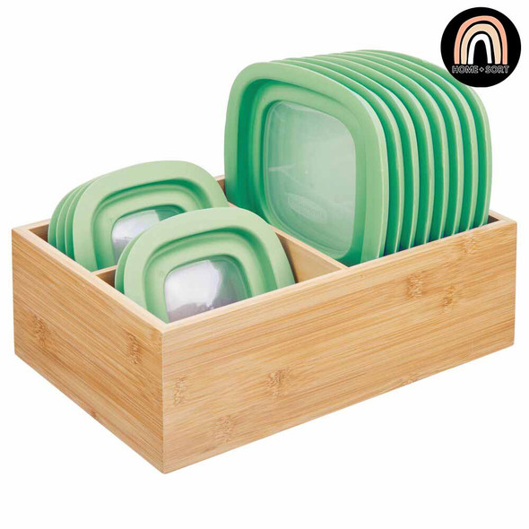 Bamboo Food Storage Organizer with 3 Compartments - Pack of 4