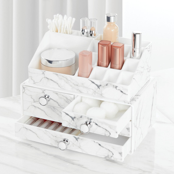 Plastic Stacking Makeup Cosmetic Storage Organizer with Marble Pattern - Set of 2