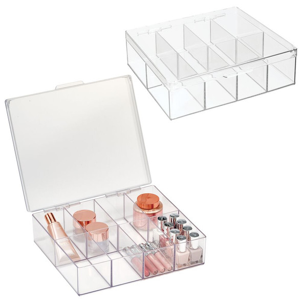 8 Compartment Plastic Divided Cosmetic Organizer Box with Hinged Lid - Pack of 2