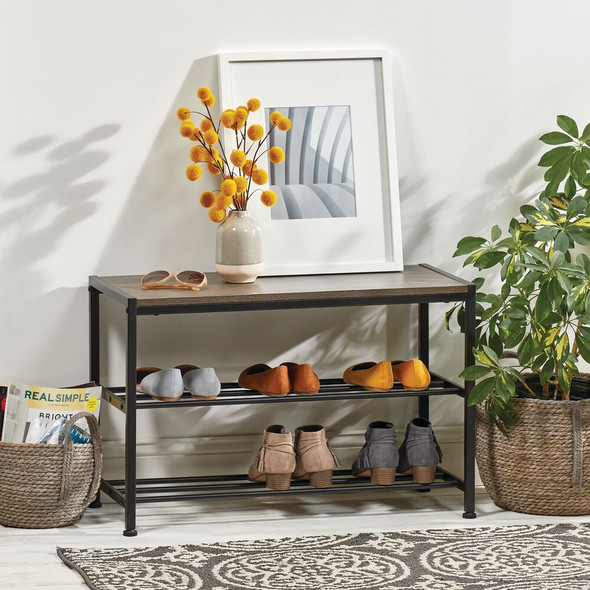 Metal and Wood Entryway Bench with Shoe Storage - Black/Grey