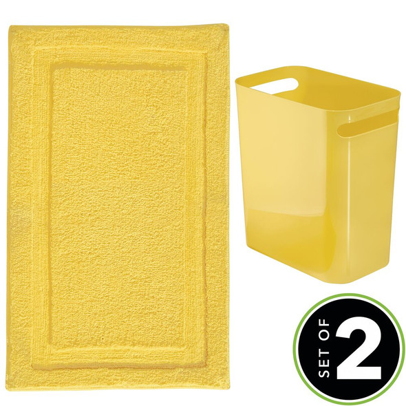 Microfiber Bathroom Accent Rug & Wastebasket Trash Can in Yellow - Set of 2