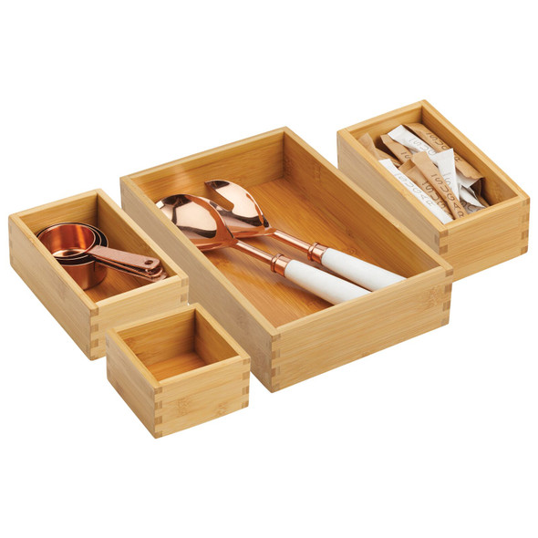 Bamboo Drawer Organizers for Kitchen Cabinet Storage - Set of 4