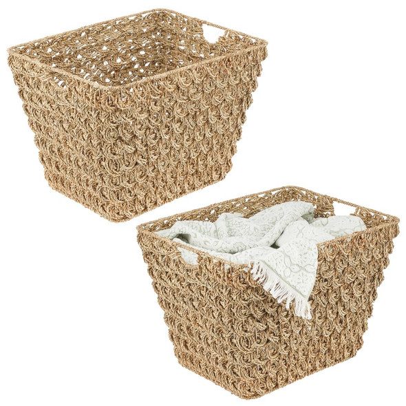 Seagrass Woven Laundry Baskets - Pack of 2