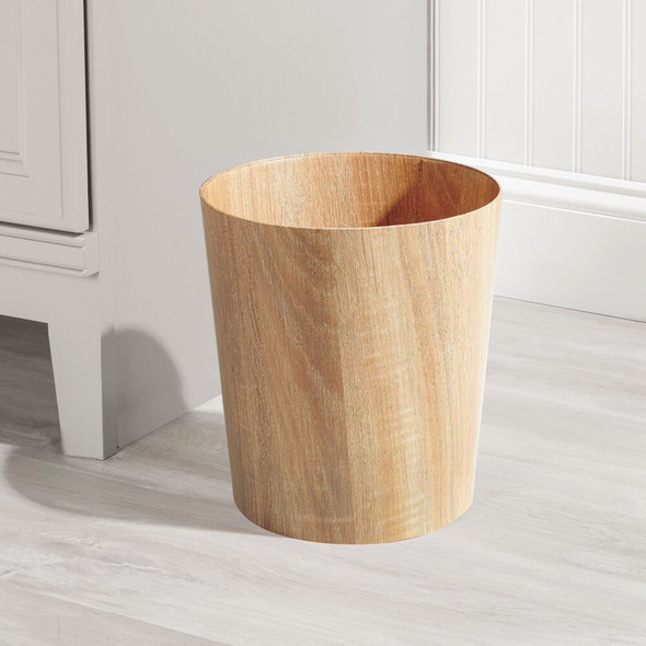 Round Wood Trash Can For Laundry Room