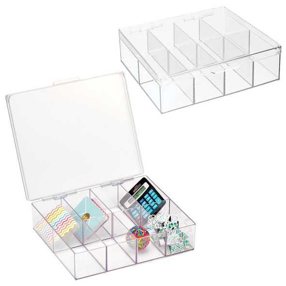 8 Compartment Plastic Divided Office Organizer Box with Hinged Lid - Pack of 2