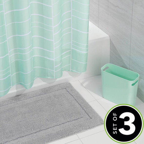 Bathroom Accessory Set with Shower Curtain, Bat Mat, and Trash Can in Mint Gray - Set of 3