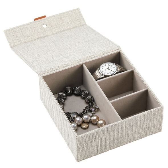 4 Compartment Fabric Jewelry Storage Box with Lid - Light Gray