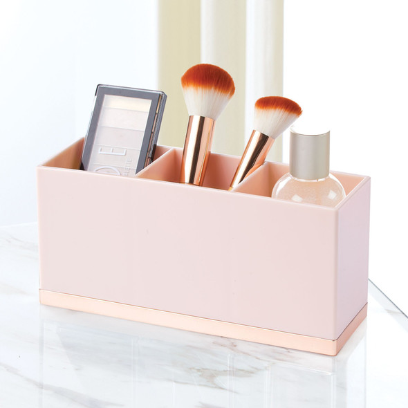 3 Section Rectangular Makeup Brush Holder Vanity Desk Organizer