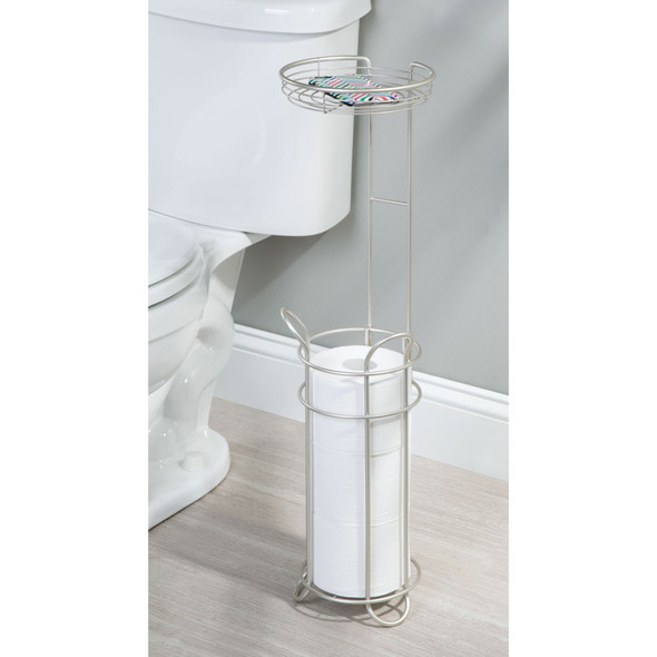 Toilet Tissue Paper Roll Dispenser & Storage Shelf