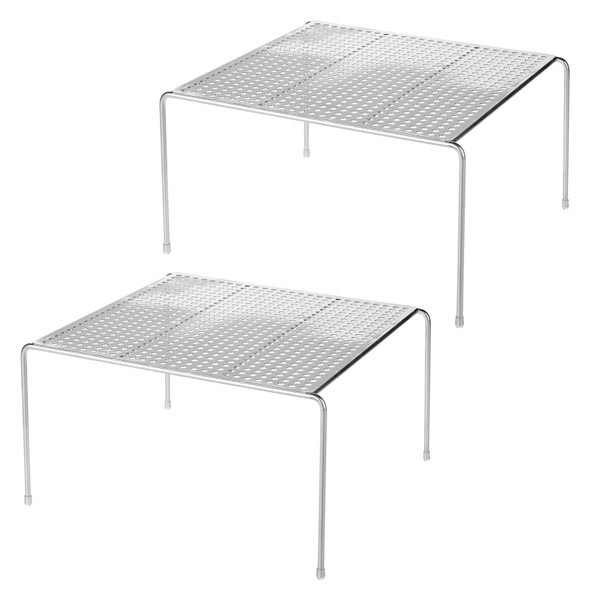 Square Metal Home Storage Cabinet & Closet Shelf Organizer - Pack of 2