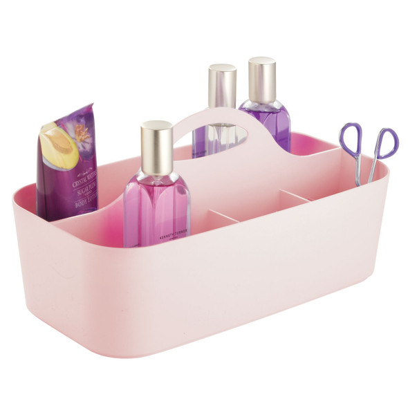 Large Plastic Vanity Makeup Storage Caddy Tote with Handle