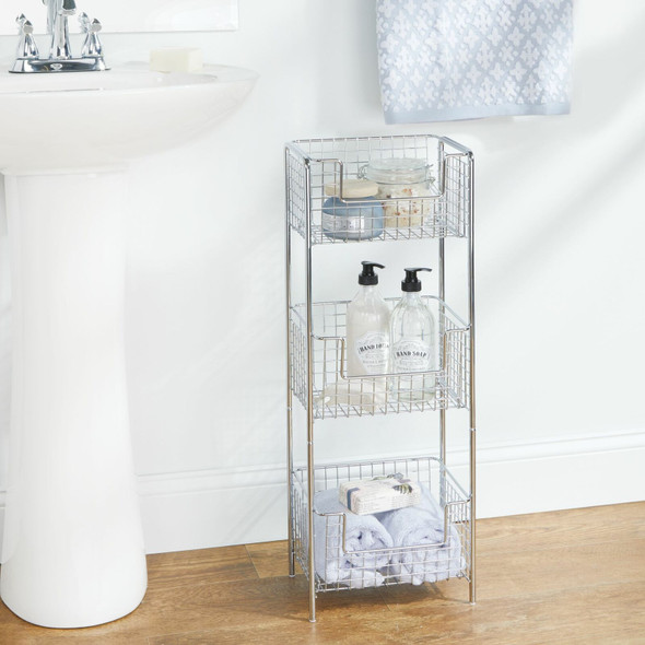 3 Tier Metal Wire Free Standing Bathroom Storage Shelf