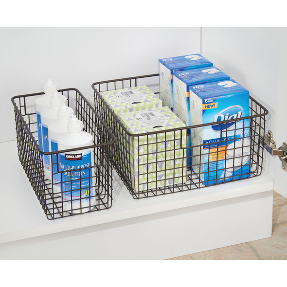 "Metal Wire Bathroom Storage Basket - 12"" x 6"" x 6"""