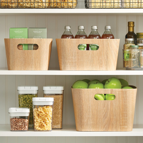 Wood Grain Kitchen Pantry Food Storage Organizer Bin