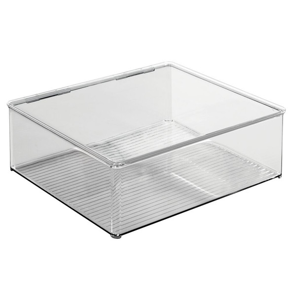 Plastic Stackable Kitchen Storage Box with Lid - Clear/Smoke Gray