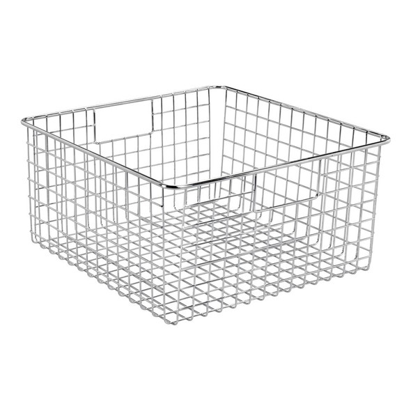 "Metal Wire Office Storage Basket with Handles - 12"" x 12"" x 6"""