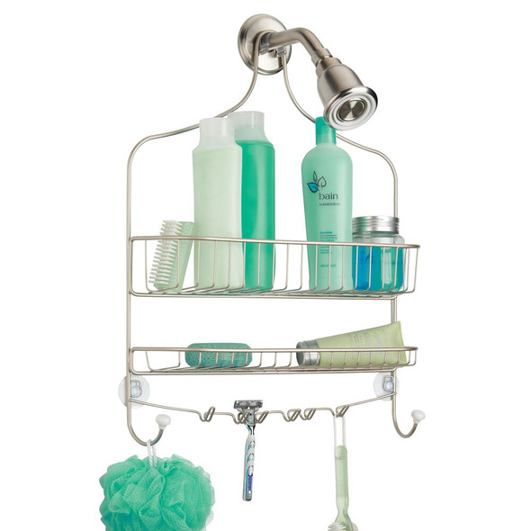 Hanging Metal Shower Caddy with 4 Hooks - Satin