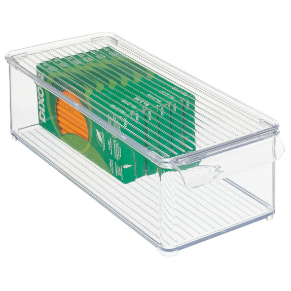 "Plastic Office Storage Bin with Lid - 14.5"" x 6"" x 4.25"""