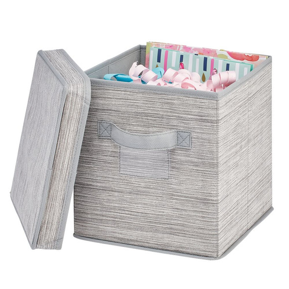 Striped Fabric Storage Cube With Lid - Taupe