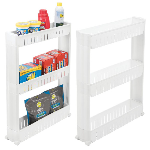 Narrow Rolling Laundry Storage Cart - 3 Tiers