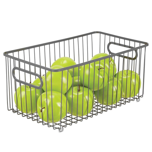 Wire Pantry Storage Basket with Handles - Pack of 4