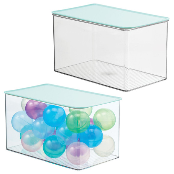 Plastic Toy Storage Bin with Hinged Lid - Pack of 2