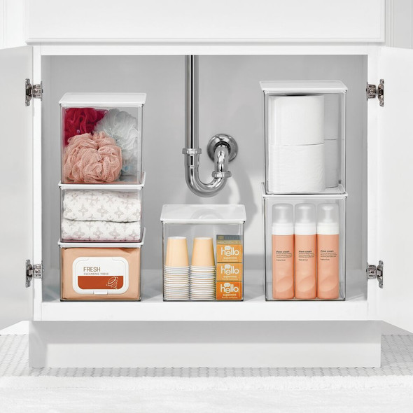 Stackable Plastic Bath Storage Box with Lid