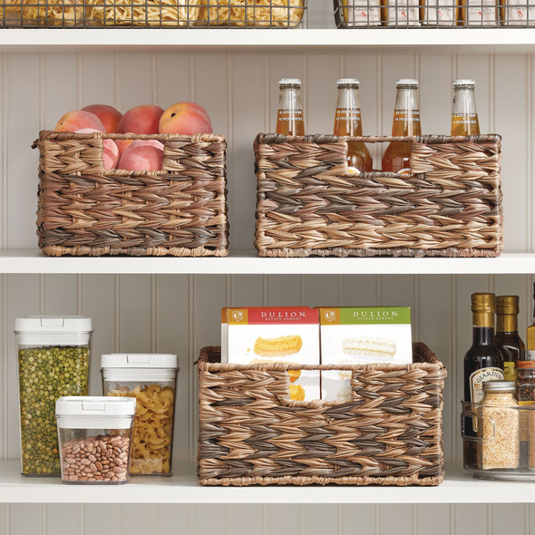 Plastic Ombre Woven Pantry Storage Bins - Pack of 3