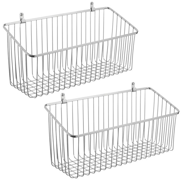 Metal Wire Wall Mount Basket - Pack of 2