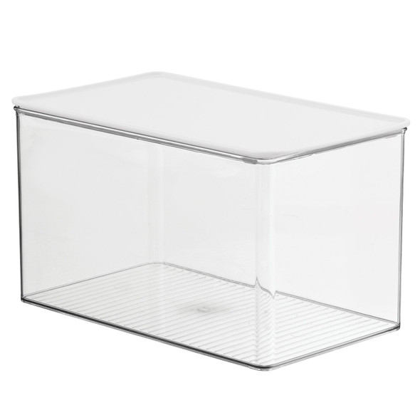 Clear Plastic Bathroom Storage Containers with Hinged Lid - Pack of 1