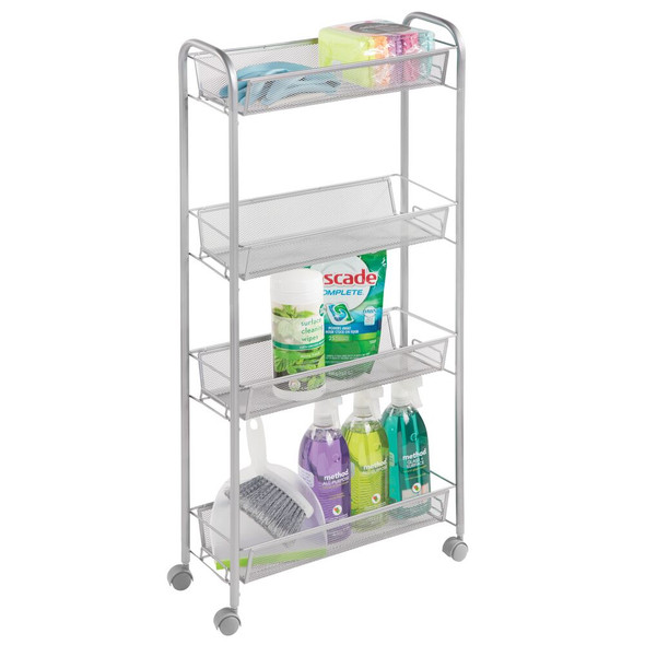 4 Tier Rolling Laundry Cart with Mesh Baskets - Pack of 2