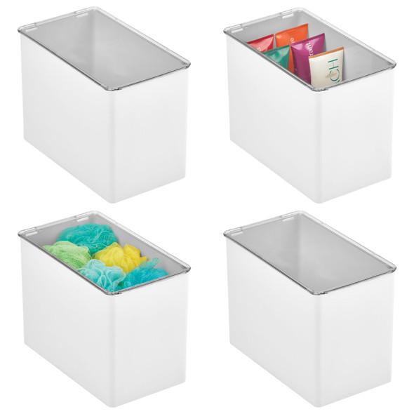 Plastic Bath Storage Bin With Lid - Pack of 4