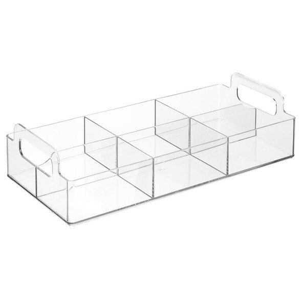 "Six Section Plastic Storage Organizer with Handles - 12"" x 5.7"" x 2.9"""