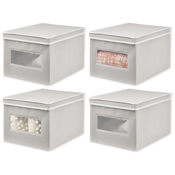Fabric Storage Box with Front Window in Light Gray - Pack of 4