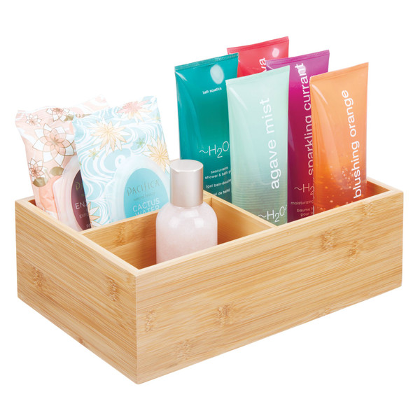 3 Compartment Bamboo Bathroom Storage Container