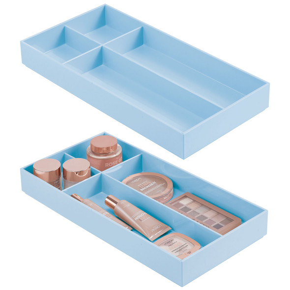 4 Compartment Plastic Drawer Organizer - Pack of 2