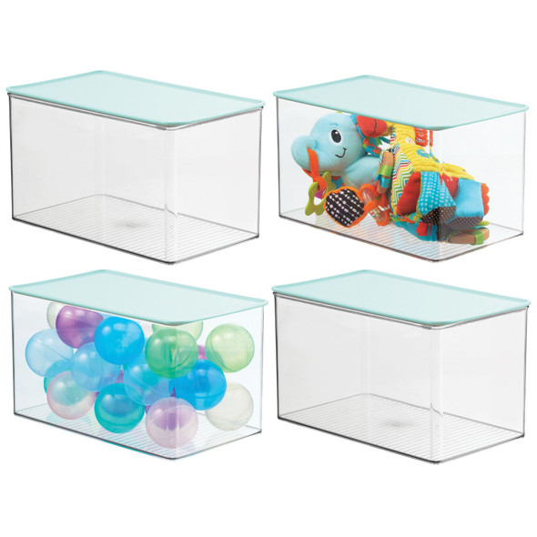 Plastic Toy Storage Bin with Mint Green Lid - Pack of 4