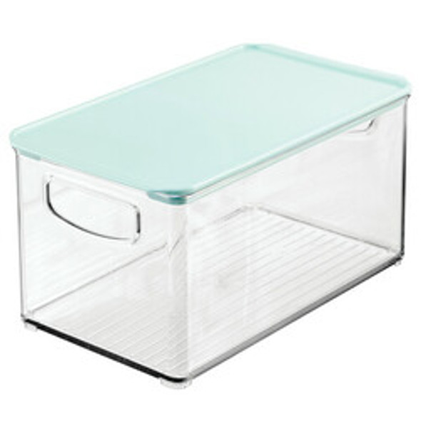 Clear Plastic Bathroom Storage Containers with Hinged Lid - Pack of 4