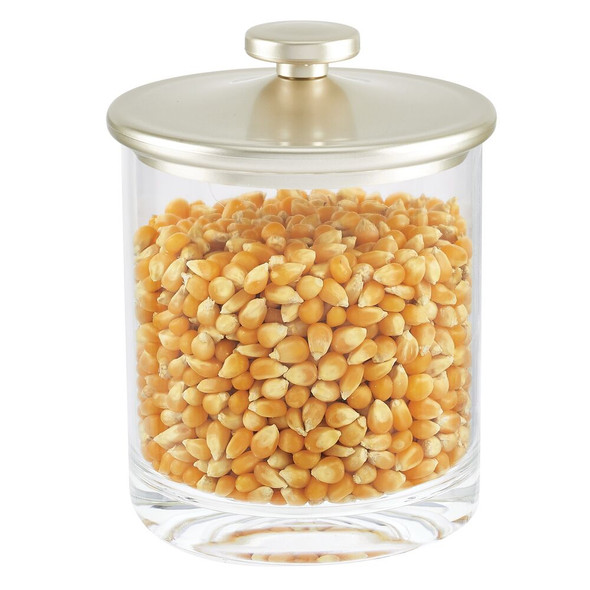 Plastic Kitchen Storage Canister with Metallic Lid