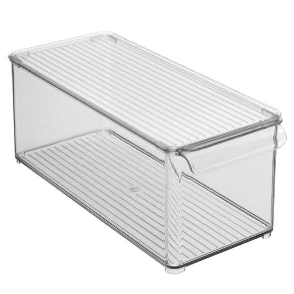 "Plastic Office Storage Bin with Lid in Smoke Gray - 14.5"" x 6"" x 6"""