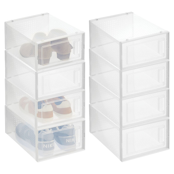 Plastic Stackable Shoe Boxes for Closet