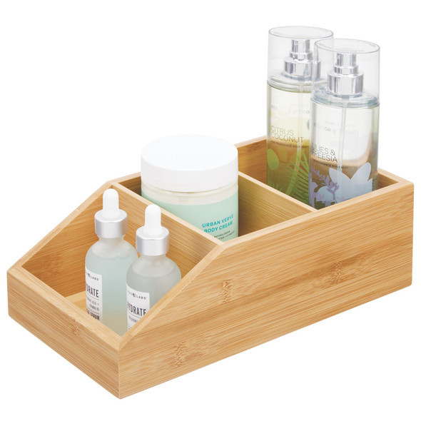3 Compartment Bamboo Bathroom Storage Container with Front Dip