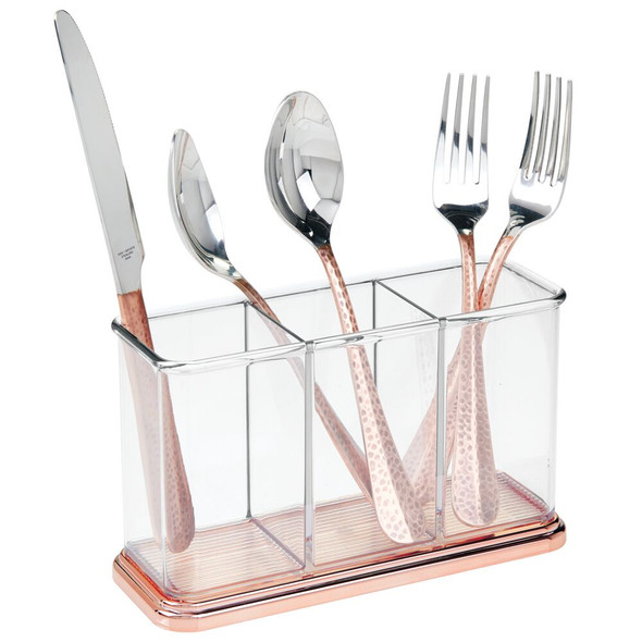 Plastic Kitchen Cabinet Cutlery Flatware Caddy, 3 Compartments