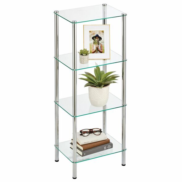 Glass and Metal Storage Shelf