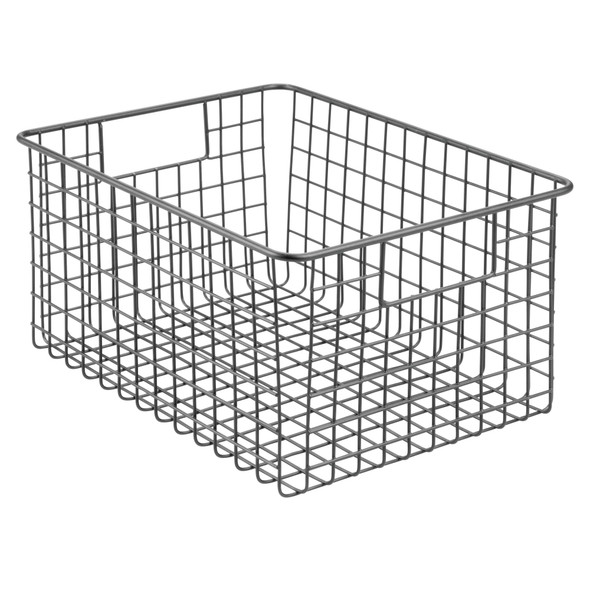 "Wire Bathroom Storage Basket with Handles - 12"" x 9"" x 6"""